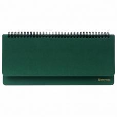 Планинг недатированный (305x140 мм) BRAUBERG Select, балакрон, зеленый, 111695