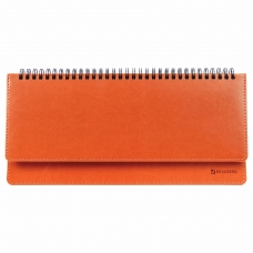 Планинг недатированный (305x140 мм) BRAUBERG Rainbow, кожзам, оранжевый, 111701