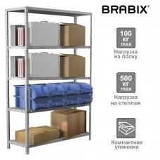Стеллаж металлический BRABIX MS KD-200/50-5, 2000х1000х500 мм, 5 полок, сборная стойка, 291120, S240BR245502