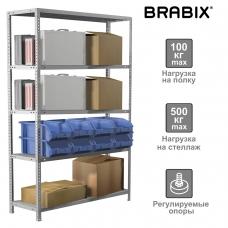 Стеллаж металлический BRABIX MS Plus-200/60-5, 2000х1000х600 мм), 5 полок, регулируемые опоры, 291111, S241BR166502