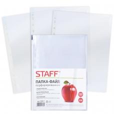 Папки-файлы перфорированные, А4, STAFF, комплект 100 шт., гладкие, Яблоко, 30 мкм, 224917
