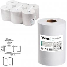 Полотенца бумажные рулонные VEIRO Professional Система H1, КОМПЛЕКТ 6 шт., Basic, 180 м, белые, K101
