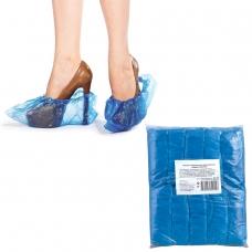 Бахилы КОМПЛЕКТ 100 штук 50 пар в упаковке, ЭКОНОМ, размер 40х15 см, 30 мкм, 3,2 г, ПВД, 6019