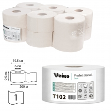 Бумага туалетная 200 м, VEIRO Professional Система T2, КОМПЛЕКТ 12 шт., Basic, T102