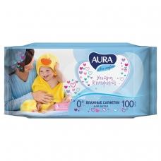 Салфетки влажные КОМПЛЕКТ 100 шт., для детей AURA Ultra comfort, универсальные, очищающие, гипоаллергенные, без спирта, 5637