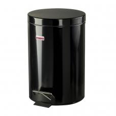 Ведро-контейнер для мусора урна с педалью ЛАЙМА Classic, 12 л, черное, глянцевое, металл, со съемным внутренним ведром, 602850