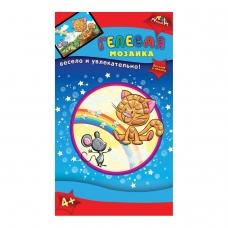 Набор для творчества Гелевая мозаика, Котенок, основа формата А6, цветные прозрачные пластиковые элементы, С2603-13