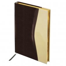 Ежедневник BRAUBERG недатированный, А5, 138х213 мм, De Luxe, под комбинированную кожу, 160 л., коричневый/бежевый, золотой срез, 123403