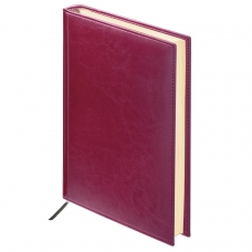 Ежедневник BRAUBERG недатированный, А6, 100х150 мм, Imperial, под гладкую кожу, 160 л., бордовый, кремовый блок, 123466