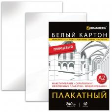 Картон белый БОЛЬШОГО ФОРМАТА, А2 МЕЛОВАННЫЙ, 10 листов, в папке, BRAUBERG, 400х590 мм, 124764