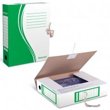 Папка архивная с завязками, микрогофрокартон, 75 мм, до 700 листов, плотная, зеленая, BRAUBERG, 124851