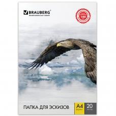 Папка для рисования А4, 210х297 мм, 20 л., BRAUBERG, внутренний блок 160 г/м2, 125230