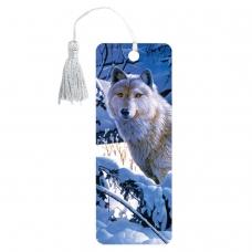 Закладка для книг 3D, BRAUBERG, объемная, Белый волк, с декоративным шнурком-завязкой, 125752