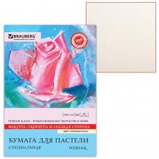 Папка для пастели А4, 210х297 мм, 20 л., BRAUBERG, тонированная бумага слоновая кость, ГОЗНАК, Скорлупа, 200 г/м2, 126306