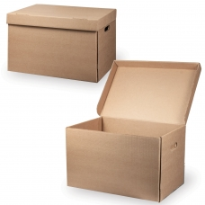 Короб архивный Делопроизводство, 29,5х48х32,5 см, откидная крышка, картон, бурый
