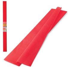 Цветная бумага крепированная плотная, растяжение до 45%, 32 г/м2, BRAUBERG, рулон, красная, 50х250 см, 126531