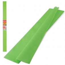 Цветная бумага крепированная плотная, растяжение до 45%, 32 г/м2, BRAUBERG, рулон, светло-зеленая, 50х250 см, 126536