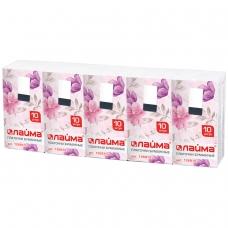Платки носовые ЛАЙМА, 3-х слойные, 10 шт. х спайка 10 пачек, 20х20 см, 126910