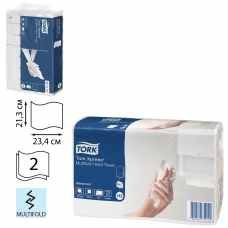 Полотенце бумажное КОМПЛЕКТ 190 шт., TORK Система H2 Advanced, 2-слойное, белый, 23,4х21,3, Multifold, 471117
