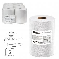 Полотенца бумажные рулонные VEIRO Professional Система H1, комплект 6 шт., Comfort, 160 м, 2-слойные, белые, K203