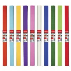 Цветная бумага крепированная плотная, ассорти 10 цветов, растяжение до 45%, 32 г/м2, BRAUBERG, 50х250 см, 127151