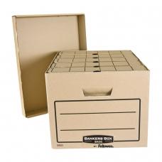 Короб архивный FELLOWES BANKERS BOX Basic, 33,5x44,5x27 см, с крышкой, гофрокарт, коричневый, FS-00101
