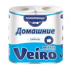Полотенца бумажные бытовые, спайка 2 шт., 2-х слойные 2х12,5 м, VEIRO Домашние, белые, 3п22