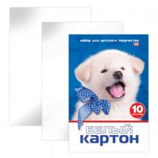 Картон белый А4 МЕЛОВАННЫЙ, 10 листов, в папке, HATBER VK, 205х295 мм, Белый щенок,10Кб4 15023, N234884