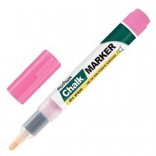 Маркер меловой MUNHWA Chalk Marker, 3 мм, РОЗОВЫЙ, сухостираемый, для гладких поверхностей, CM-10