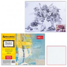 Холст на картоне с контуром BRAUBERG ART CLASSIC, Цветы, 30х40 см, грунтованный, 100% хлопок, 190625