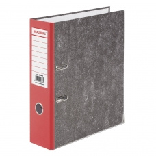 Папка-регистратор BRAUBERG, фактура стандарт, с мраморным покрытием, 80 мм, красный корешок, 220988