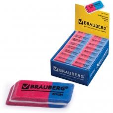 Резинка стирательная BRAUBERG Assistant 80, 41х14х8 мм, красно-синяя, в картонном дисплее, 221034