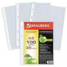 Папки-файлы перфорированные, А5, BRAUBERG, вертикальные, комплект 100 шт., гладкие, Яблоко, 35 мкм, 221714