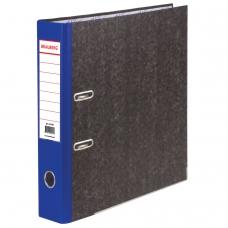 Папка-регистратор BRAUBERG, мраморное покрытие, А4 +, содержание, 70 мм, синий корешок, 221986