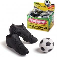 Резинки стирательные ПИФАГОР Футбол, набор 3 шт., в упаковке с подвесом, 223608