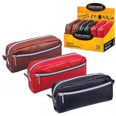Пенал-косметичка BRAUBERG под фактурную кожу, ассорти, коричневый, красный, черный, Идеал, 19х9х4 см, дисплей, 224035