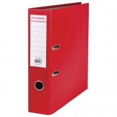 Папка-регистратор с покрытием из полипропилена, 75 мм, прочная, с уголком, BRAUBERG, красная, 226598