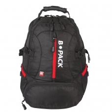 Рюкзак B-PACK S-03 БИ-ПАК универсальный, с отделением для ноутбука, увеличенный объем, черный, 46х32х26 см, 226949
