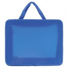 Папка на молнии с ручками ПИФАГОР, А4, пластик, молния вокруг, однотонная синяя, 228233