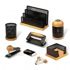 Набор настольный GALANT Wood&Metal, 8 предметов светлое дерево, черный металл, 230877