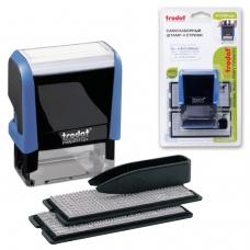Штамп самонаборный 4-строчный, оттиск 47х18 мм, синий, без рамки, TRODAT 4912P4/DB , корпус синий, кассы в комплекте, 4912/DB