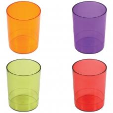 Подставка-органайзер СТАММ стакан для ручек, 4 цвета ассорти, тонированный красный, зеленый, оранжевый, фиолетовый, СН60