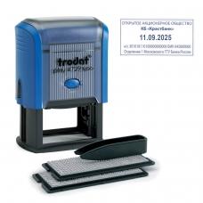 Датер самонаборный, 4 строки+дата, оттиск 50х30 мм, синий, TRODAT 4729 BANK, кассы в комплекте, 62257