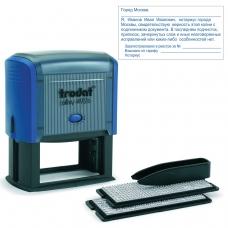 Штамп самонаборный 8-строчный, оттиск 75х38 мм, синий, без рамки, TRODAT 4926/DB , корпус синий, кассы в комплекте, 53604
