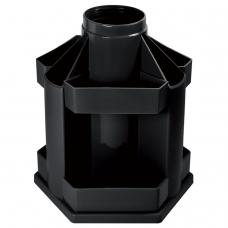 Подставка-органайзер СТАММ Maxi Desk, вращающаяся, 120х140х175 мм, 10 отделений, черная, ОР200