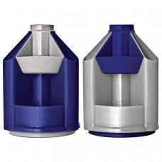 Подставка-органайзер СТАММ Mini Desk, вращающаяся, 107х107х140 мм, 10 отделений, серый металлик/темно-синий, ОР90