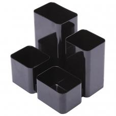 Подставка-органайзер СТАММ Юниор, 86х108х102 мм, 4 отделения, черная, ОР21