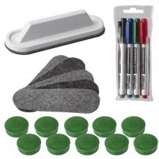 Набор для магнитно-маркерной доски 2х3 Eco Boards, 4 маркера+стиратель+чистящее средство+10 магнитов, AS116