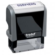 Штамп стандартный ПОЛУЧЕНО, оттиск 38х14 мм, синий, TRODAT 4911P4-1.1, 53557