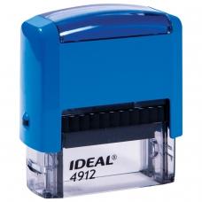 Штамп самонаборный, 4-строчный, оттиск 47х18 мм, синий, без рамки, TRODAT IDEAL 4912 P2, корпус синий, касса, 125427